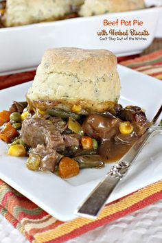 This amazing Beef Pot Pie recipe is flavored with Better Than Bouillon Base and uses gluten free flour to make the Herbed Biscuits. Beef Pot Pies, Beef Stew Meat, Food Dishes, Main Dishes, Homemade Biscuits, Best Comfort Food, Supper Ideas, Dinner Tonight, Tarts