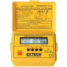 Extech 380375 Digital High Voltage Insulation Tester. * Test duration (up to 99.9s) is displayed  * Live circuit display warning and beeper  * EnersaveTM feature to extend battery life  * Auto ranging and Auto-off functions