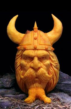 Viking pumpkin carving