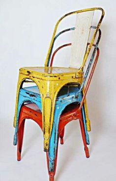 Colourful industrial chic chairs