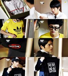 Answer Me Episode 1 A Guess shirt? Wait… is this a fake? On his fifteenth birthday: Adidos? On his sixteenth birthday: Westpak? On his seventeenth birthday: SAFTY ZONE? Answer Me 1997, Reply 1997, Sixteenth Birthday, Seo In Guk, Guess Shirt, School Reunion, Kdrama Actors, Korean Dramas, Series 3