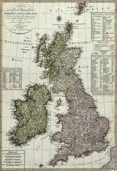 Vintage German Map of the British Isles Digital Art Print.  http://www.falstafftrading.com/