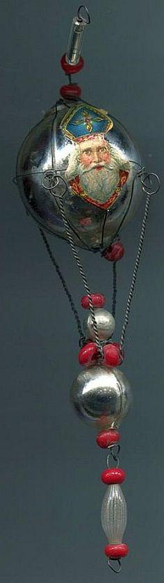 Alter Weihnachtsschmuck Christbaumschmuck Gablonz Glas Ballon Nikolaus-Oblaten