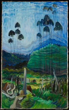 """Daily Pic: """"Trees in the Sky,"""" painted by Emily Carr, the great Canadian artist, in 1939 and recently seen at the Art Gallery of Ontario in Toronto. Carr is one of the great eccentrics – as an artist,. Tom Thomson, Canadian Painters, Canadian Artists, Emily Carr Paintings, Art Gallery Of Ontario, Post Impressionism, Impressionist Art, Mystique, Oil Painting Reproductions"""