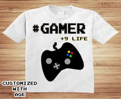 GAMER BIRTHDAY SHIRT (with age) Video Game Party Shirt