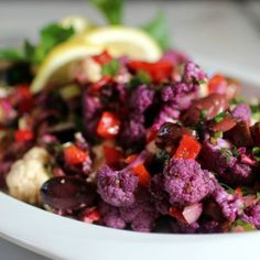 Purple Cauliflower: Peak season for this pretty purple veggie is in the fall, so get ready to substitute this version for your white cauliflower in any dish you like