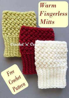 Crochet warm fingerless mitts, great for texting etc. find the FREE crochet pattern on crochetncreate. Crochet Mitts, Free Crochet, Ladies Wear, Women Wear, Crochet Designs, Crochet Patterns, Fingerless Mitts, Winter Warmers, Texting