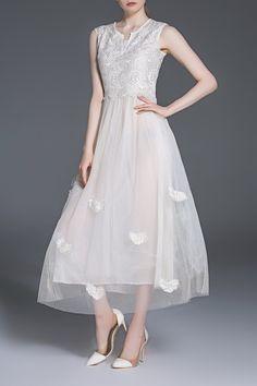 Embroidered Mesh Splicing Midi Dress