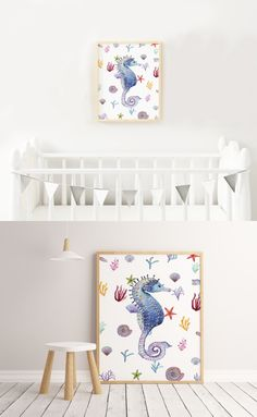 "☆ Beautiful Nursery Decor. One image of a Sea Horse with seashells.☆  Make the nursery joyful and colorful with this unique print!  Instant download print ready digital file: A4 8"" x 11""  Letter 8.5"" x 11"""
