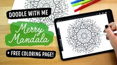 Ipad doodle with me: merry mandala + free coloring page! Love Coloring Pages, Birthday Coloring Pages, Free Coloring, Doodle Art Journals, Journal Quotes, Art Birthday, Pattern Art, Art Quotes, Hand Lettering