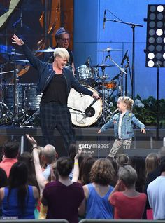 P!nk and daughter Willow Sage Hart seen during a taping of 'The Ellen DeGeneres Show' Season 13 Bi-Coastal Premiere at Rockefeller Center on September 8, 2015 in New York City.