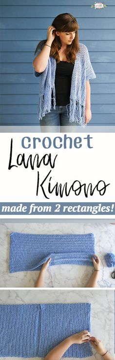 Crochet Lana Kimono 2019 Crochet the Lana Kimono from just two rectangles! This super easy beginner friendly DIY is the best pattern for trying out garment making. The post Crochet Lana Kimono 2019 appeared first on Scarves Diy. Gilet Crochet, Crochet Coat, Crochet Jacket, Crochet Cardigan, Crochet Scarves, Diy Crochet, Crochet Clothes, Crochet Stitches, Crochet Sweaters