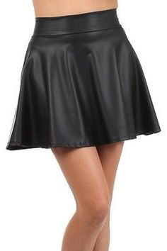 065519575d Sexy High Waist Faux Leather Solid Plain Flared Pleated A-Line Skater Mini  Skirt