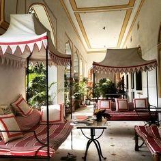 She fell between the cracks. And into a world of Beauty. The Heavenly world of the Aesthete. India Decor, Pink Cushions, Pink Sofa, Indian Inspired Decor, Striped Sofa, Interior Decorating, Interior Design, Design Interiors, White Home Decor