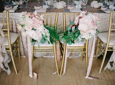 Gorgeous #blush #chair #flowers by @AkikoFloral.  Photo credit:  Milton Photography #weddingflowers #weddingphotography #wedding #gold
