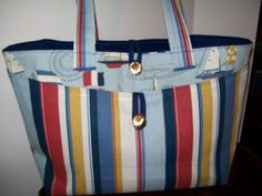 Nautical oversized bag  blue red daytripper  by ExpressionQuilts