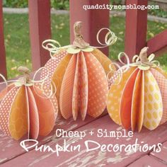 Fun and simple pumpkin decoration idea with paper.
