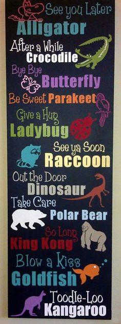 Super cute sign for a nursery, kids room, or classroom. Animal decor. No link.