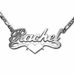 f6997f578552 Collar de Plata con nombre y corazón modelo Lena (Doble Espesor). Collar de