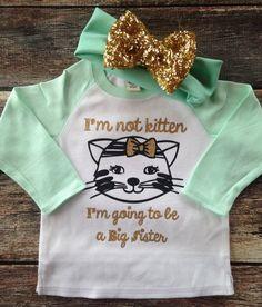 Big Sister Kitten Shirt Pregnancy announcement by PurplePossom
