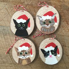 Custom Pet Ornament - Christmas Ornament - Cat Ornament - Dog Ornament - Animal Ornament I will pain Cat Christmas Ornaments, Christmas Rock, Dog Ornaments, Wooden Ornaments, Hand Painted Ornaments, Personalized Ornaments, Christmas Animals, Christmas Cats, Christmas Decorations