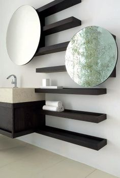 3 Simple and Modern Tricks: Floating Shelf Bathroom Mirror grey floating shelves colour.Floating Shelf With Hooks Wall Mount floating shelf entertainment center design.Floating Shelves With Tv Home. Decorative Bathroom Mirrors, Bathroom Mirror Design, Wood Bathroom, Bathroom Furniture, Bathroom Ideas, Small Bathroom, Contemporary Bathroom Mirrors, Vanity Bathroom, Bathroom Modern