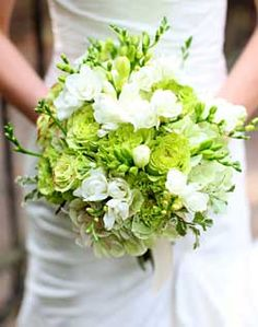 Green and White wedding bouquet idea for @Mandy Downey