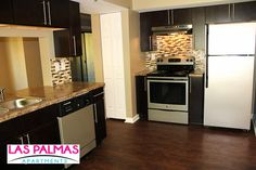 Beautifully Upgraded Kitchens with tile back splash and stainless steel appliance packages at Las Palmas Atlanta Apartments in Norcross, GA Atlanta Apartments, Appliance Packages, Kitchen Cabinets, Kitchen Appliances, Backsplash, Tile, Oven, Kitchens, Stainless Steel