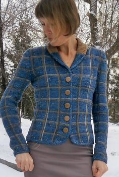 Free Knitting Pattern for Lady Boss Jacket - Long sleeved cardigan sweater with plaid pattern designed by Inna M. Available in English and Russian. Sizes Chest circumference: 84 (88, 92, 96) cm [33 (34.6, 36.2, 37.8 in)]