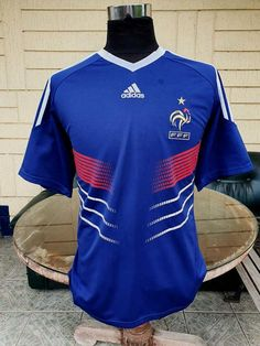 FRANCE 2010 WORLD CUP SOUTH AFRICA JERSEY ADIDAS SHIRT MAILLOT CAMISETA LARGE CODE # P41040 France Jersey, France Euro, World Cup Jerseys, Vintage Jerseys, Adidas Shirt, Football Jerseys, Jersey Shirt, South Africa, Shirts
