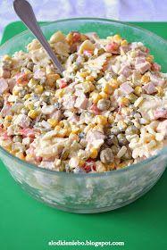 Słodkie niebo: Sałatka z makaronem, mortadelą, kukurydzą i groszkiem