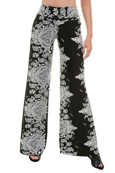 Unique Printed Palazzo Pants Banded High Waist or Fold Over Fabric: Polyester, Spandex Hemline made to cut to adjust pant length Waist Inseam Small 34 Medium 34 Large 34 Wide Leg Palazzo Pants, Printed Palazzo Pants, Wide Leg Pants, Black Pants, Harem Pants, Plus Size Inspiration, Pretty Black, Black White, White Damask