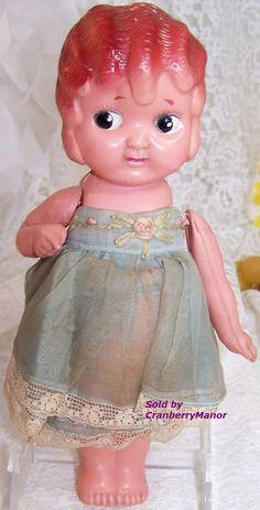 Plastic #Kewpie Carnival Game Prize Flapper #Toy #Doll from #Japan Original Blue Dress #Vintage 1930s #Japanese #Designer Import #Gift