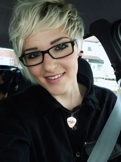 Blonde short hair pixie cut. Love it with glasses!