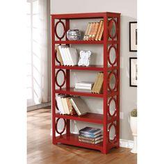 Furniture of America Avenor Contemporary 5-tier Open Display Shelf (Red)