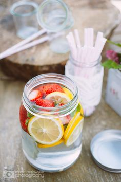 """Strawberry """"Lemonade"""" - fill a liter jar with water, juice 1 lemon into the jar with 2 slices lemons, add a few sprigs of mint and 4 oz trimmed strawberries. Chill in fridge at least 1 hour."""