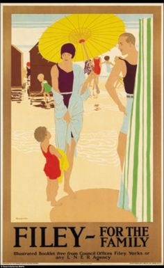 Filey for the Family poster for the London & North Eastern Railway (LNER), by Reginald Edward Higgins, Posters Uk, Beach Posters, Railway Posters, Art Deco Posters, Vintage Travel Posters, Vintage Ads, Fine Art Prints, Framed Prints, Canvas Prints
