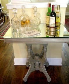 Finished bar with new mirrored top. Another Annie Sloan project.