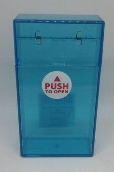 Ninc Blue Clear Plastic Push-N-Open Button 100s Size Cigarette Case