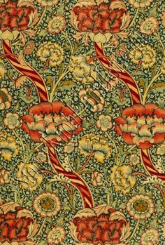 `Wandle` printed fabric, manufactured by Morris and Co. and Aymer Vallance, from `The Art of William Morris`, pub. Textiles, Textile Patterns, Textile Design, Floral Design, William Morris Patterns, William Morris Art, Motifs Art Nouveau, Morris Wallpapers, Art Deco