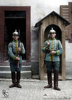 Two Imperial German 'Jäger zu Pferde' in pre-war uniform during guard duty. Great War period. 'Jäger zu Pferde' translates as 'Hunter on Horseback'. These were not Cavalry, but Mounted Light Infantry equivalent to the French 'Chasseurs à Cheval' or the British 'Mounted Rifles'. They were highly mobile units that would ride into battle, but once contact was made with the enemy, would dismount and fight as infantry. Like many other mounted units serving during the Great War, they had to adapt.