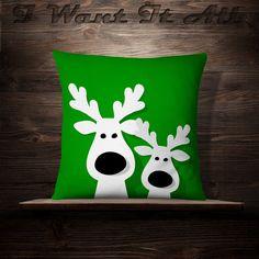 Christmas Reindeer Christmas Pillow Holiday by iwantitalldesign Christmas Cushions, Christmas Pillow, Felt Christmas, Christmas Stockings, Christmas Holidays, Christmas Ornaments, Reindeer Christmas, Christmas Projects, Holiday Crafts