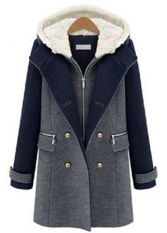 Grey Contrast Navy Hooded Buttons Woolen Coat pictures