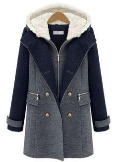 Grey Contrast Navy Hooded Buttons Woolen Coat