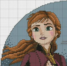 Disney Cross Stitch Patterns, Cross Stitch Charts, Pixel Art, Sailors Cross, Frozen Cross Stitch, Anna Craft, Disney Stitch, Disney Crossovers, Anna Frozen