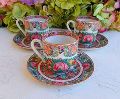 3 Vintage Chinese Rose Medallion Porcelain Cups & Saucers