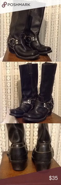 Black Size 6.5 Leather Boots Square Toes Ladies Cool country western size 6.5 M leather ladies boots. Square toes. There is some wear to the heels nothing to bad. Black cowgirl boots. I don't see a brand but it does say Elastomeric Boots on bottom reads 120 Plus. Elastomeric ? Shoes Heeled Boots