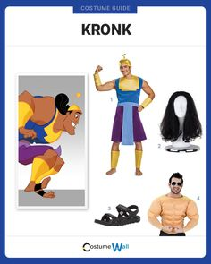 Get the poison for Kuzco, the poison chosen especially to kill Kuzco, dressed as Kronk from The Emperor's New Groove. Got Costumes, Couple Halloween Costumes, Cosplay Costumes, Halloween 2020, Halloween Ideas, Costume Ideas, Black Hair Wigs, Character Dress Up, Classic Disney Movies