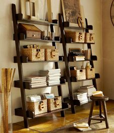 Let's move these shelves from the office into the dining room with baskets and picture frames (maybe even linens or placemats).