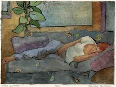 Couch Napping: Hand Pulled Collagraph with Watercolor - Belinda DelPesco